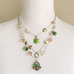 Betsey Johnson 3 Strand Frog Necklace Gold Tone